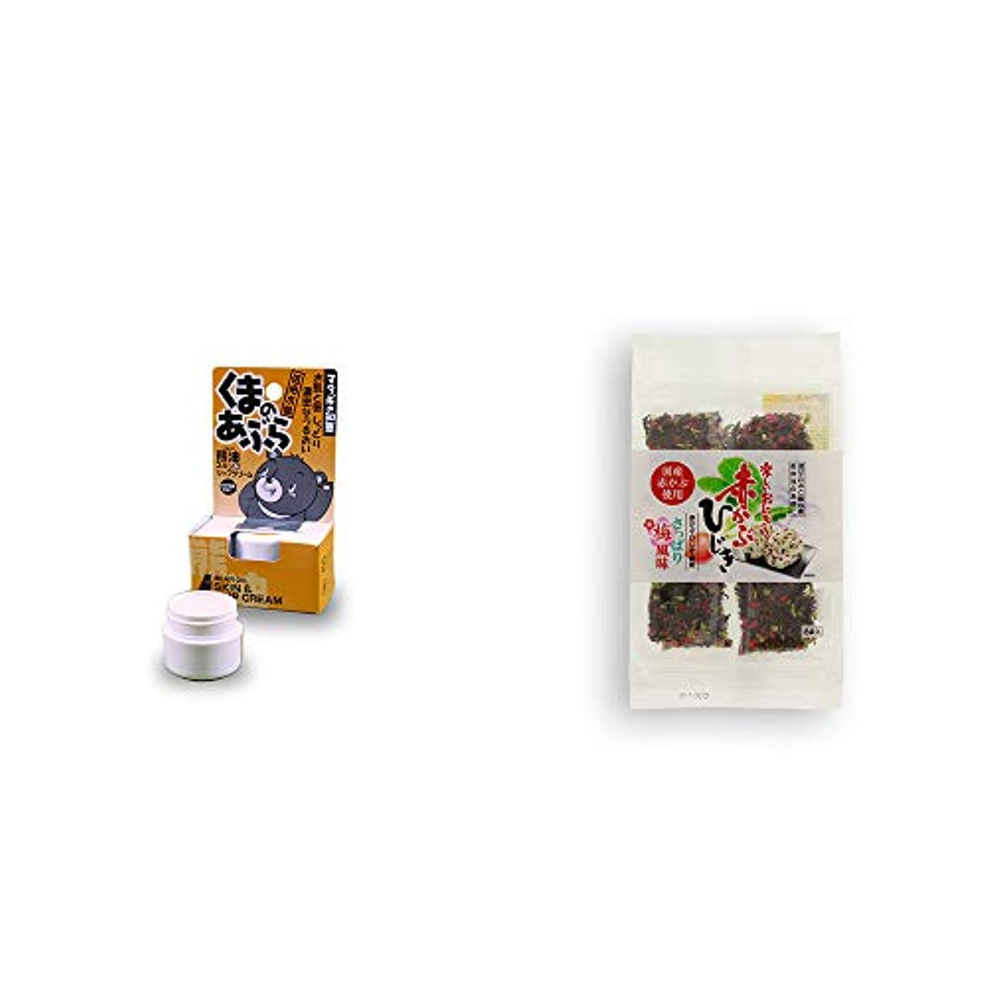 ドナーパンダアジテーション[2点セット] 信州木曽 くまのあぶら 熊油スキン&リップクリーム(9g)?楽しいおにぎり 赤かぶひじき(8g×8袋)