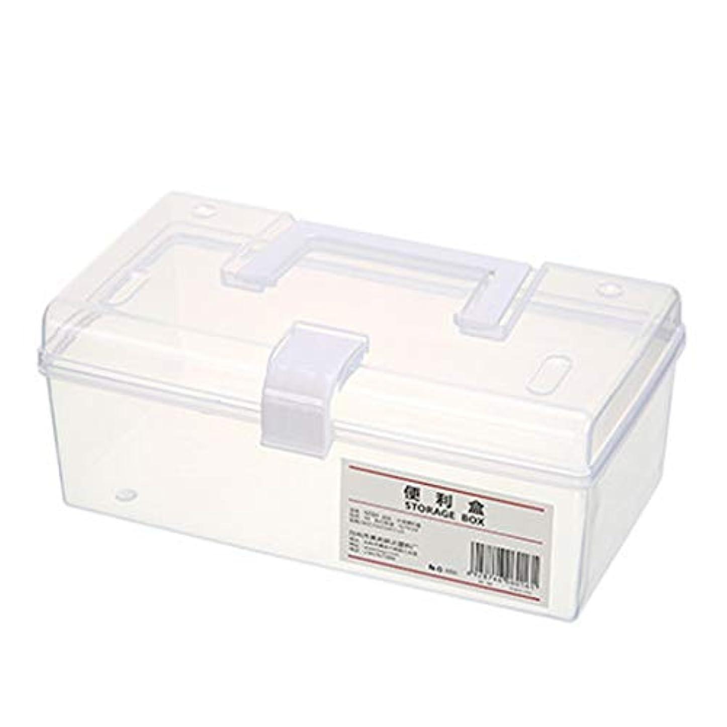 責ミニアカウントピルボックスPP家庭用薬ボックス薬収納ボックス (色 : 白, サイズ さいず : L23cm)