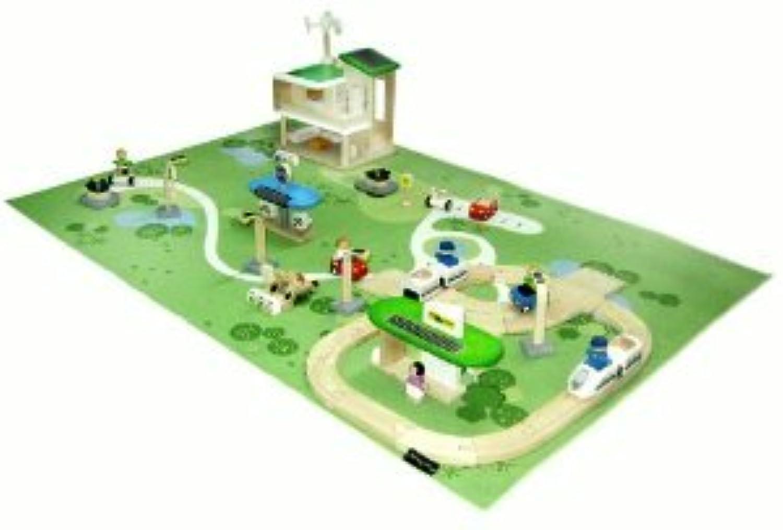 Plan Toys Eco Town Deluxe Adventure Set with Bonus Light Rail Train(並行輸入)