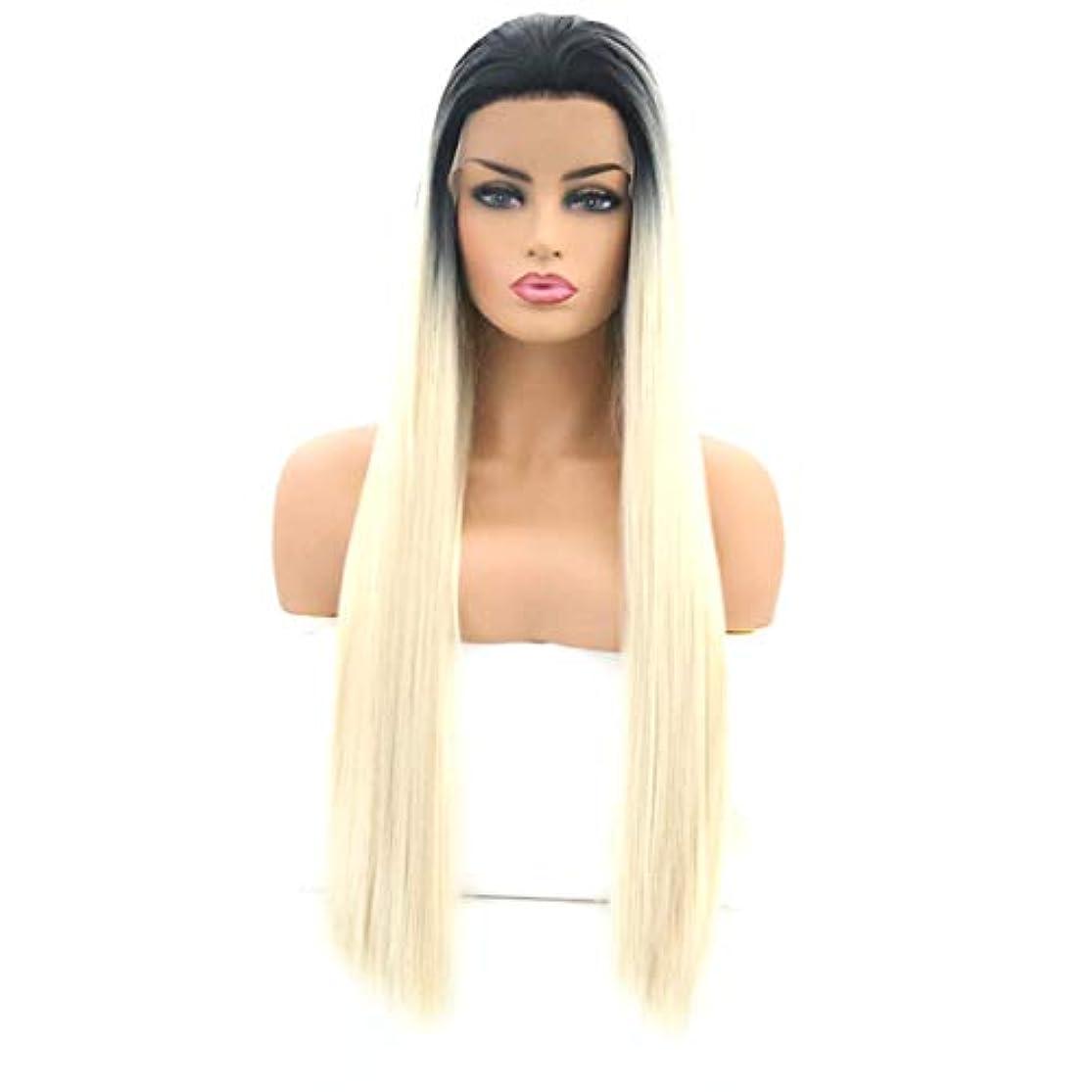 ブルジョンカスケード変化するSummerys 女性のためのロングストレートヘアウィッグフロントレース高温シルクウィッグセット (Size : 26 inches)