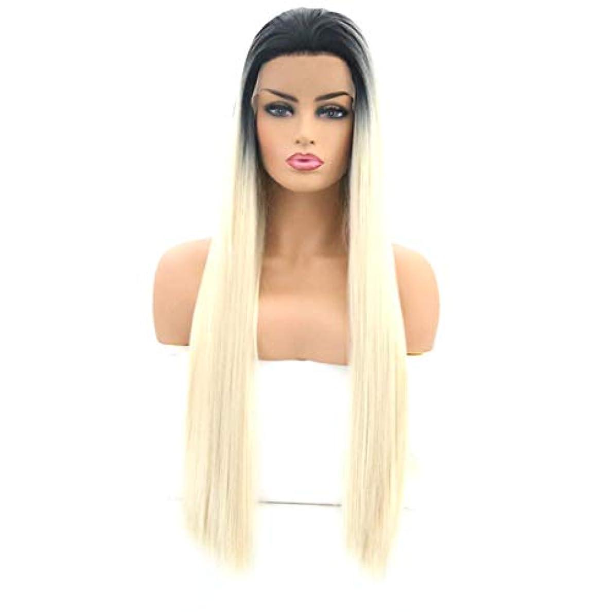 吐き出すかわいらしいありがたいKerwinner 女性のためのロングストレートヘアウィッグフロントレース高温シルクウィッグセット (Size : 18 inches)
