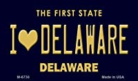 I Love Delaware State ナンバープレートマグネット M-6730 ミニナンバープレートマグネット