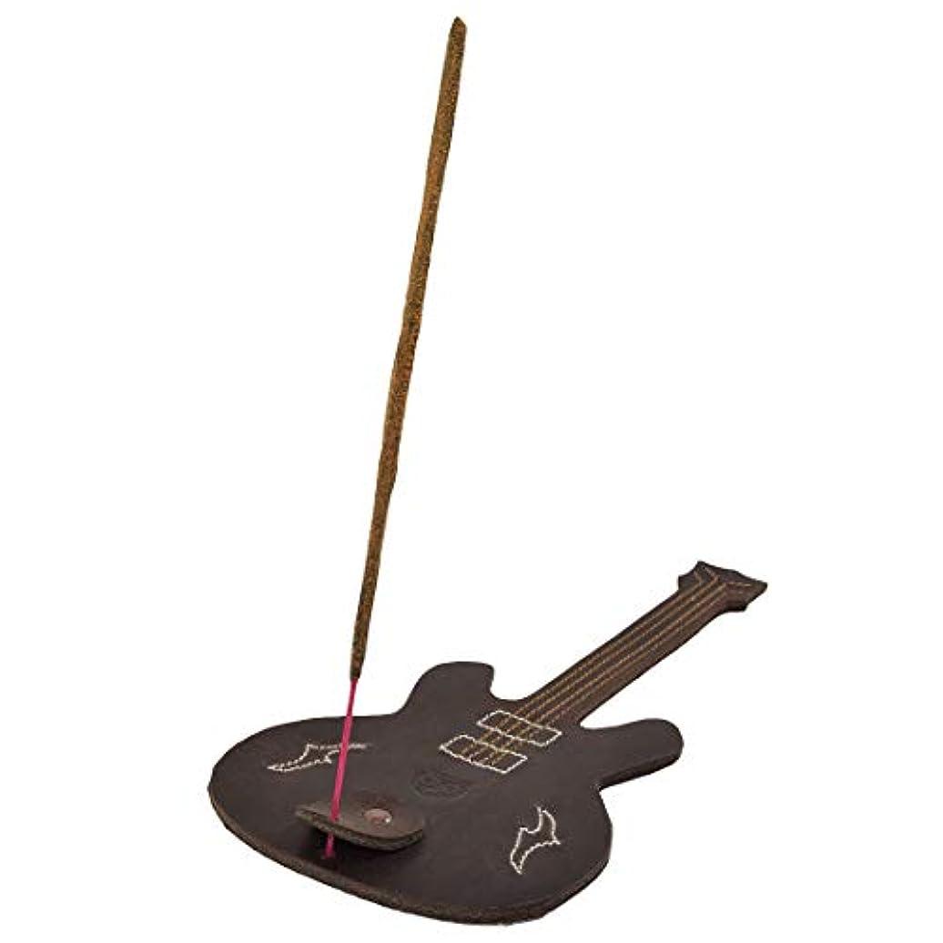摘むカニ誠実さHide & Drink厚レザーギター形状Incense Burnerスティックホルダーwith Ashキャッチャー手作りでBourbonブラウン