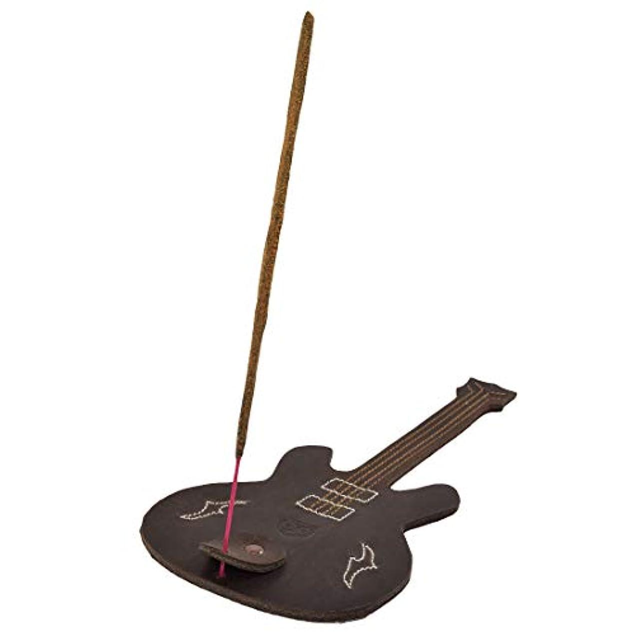 拍手する残る無声でHide & Drink厚レザーギター形状Incense Burnerスティックホルダーwith Ashキャッチャー手作りでBourbonブラウン