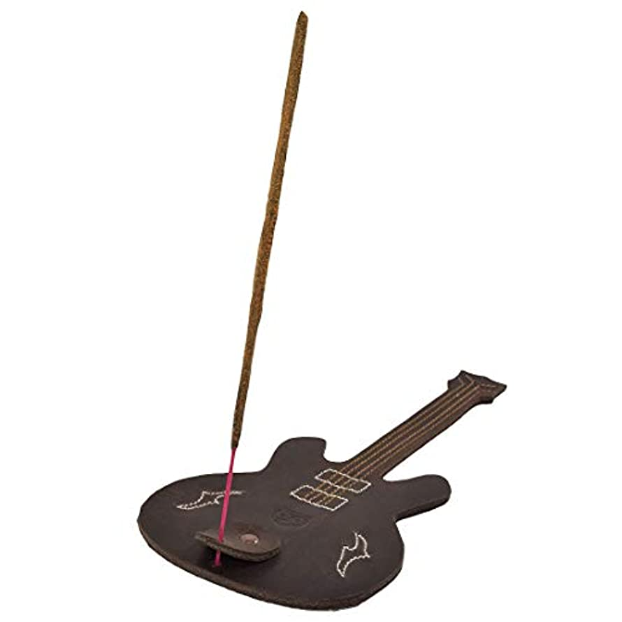 Hide & Drink厚レザーギター形状Incense Burnerスティックホルダーwith Ashキャッチャー手作りでBourbonブラウン