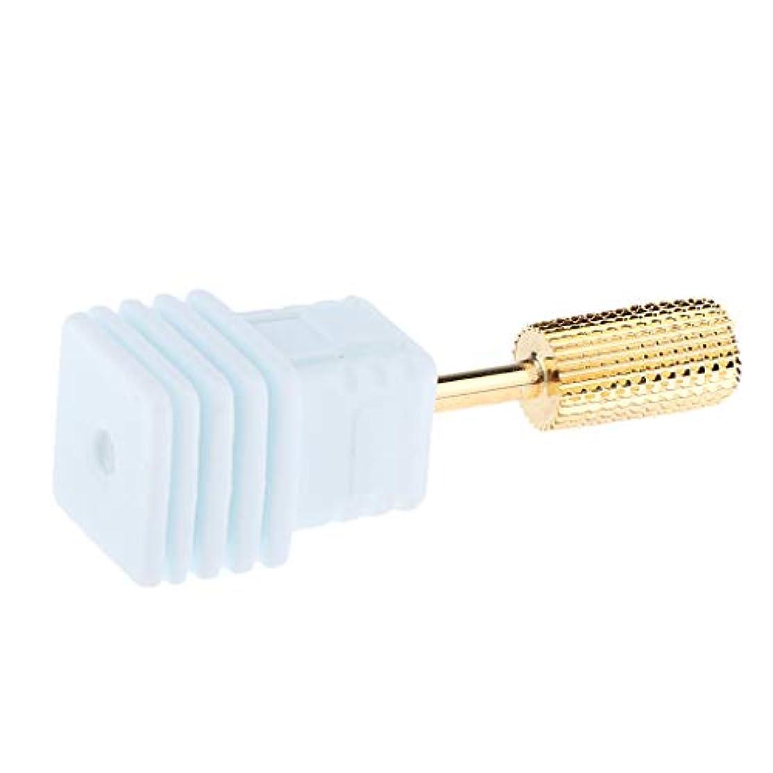 肌寒いテープ特権的ネイルドリルビットセットバレルヘッド電動ドリルビット粗研削工具 - ゴールドM