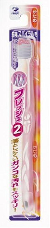 バイナリ固める残酷なフレッシュ ハブラシ2 先端スパイラル毛 かため アソート(パールホワイト&ブルー?パールホワイト&グリーン?パールホワイト&ピンク?パールホワイト&イエローのうち1色。色はおまかせ)