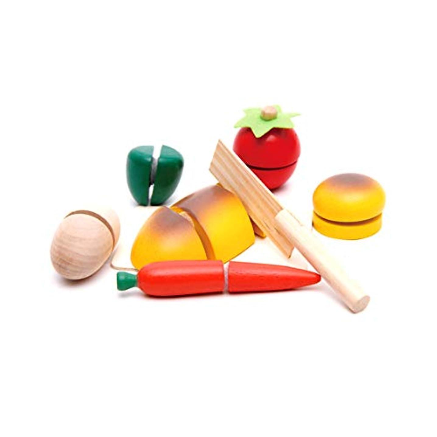 すごい登録ぼかしSnner キッチンのおもちゃは、ロールプレイングゲームの果物や野菜の食物教育ピース子供のおもちゃ面白い木製のまな板のすばらしいコレクションをカット