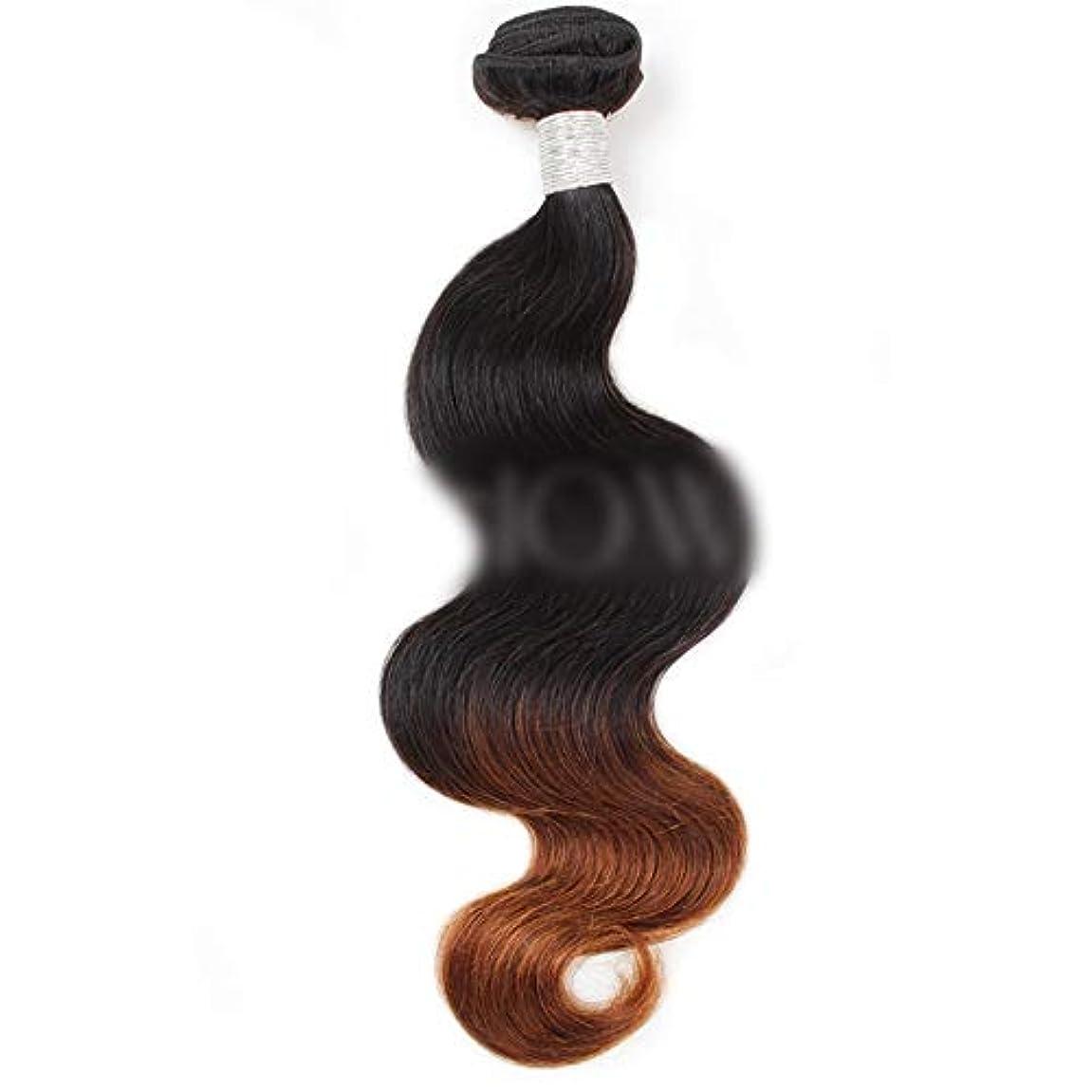 言語資格情報サッカーWASAIO クロージャ本体ブラジル髪バンドルバージン有するヒト織り - 1B / 4#2トーンカラーリング (色 : ブラウン, サイズ : 14 inch)