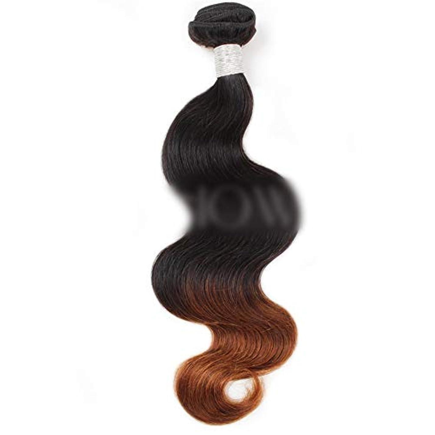 仮説模索トラップWASAIO クロージャ本体ブラジル髪バンドルバージン有するヒト織り - 1B / 4#2トーンカラーリング (色 : ブラウン, サイズ : 20 inch)