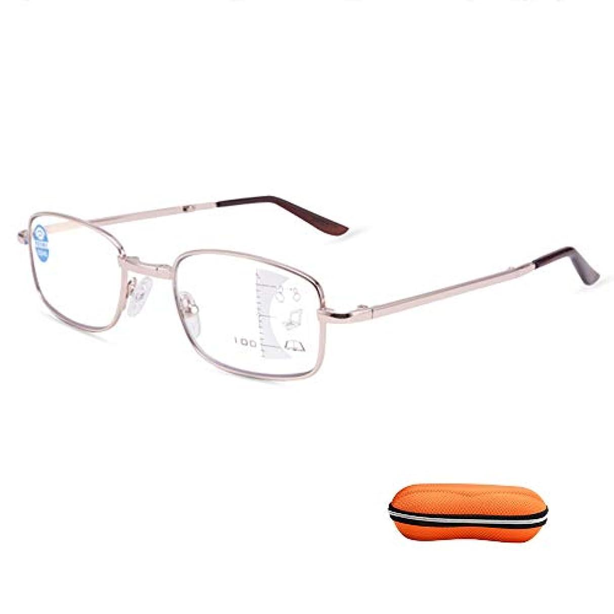 超薄型ミニポータブル折りたたみ老眼鏡、プログレッシブマルチフォーカスインテリジェント老眼鏡、アンチブルー抗疲労老眼鏡、レトロメタルハーフフレーム長方形老眼鏡
