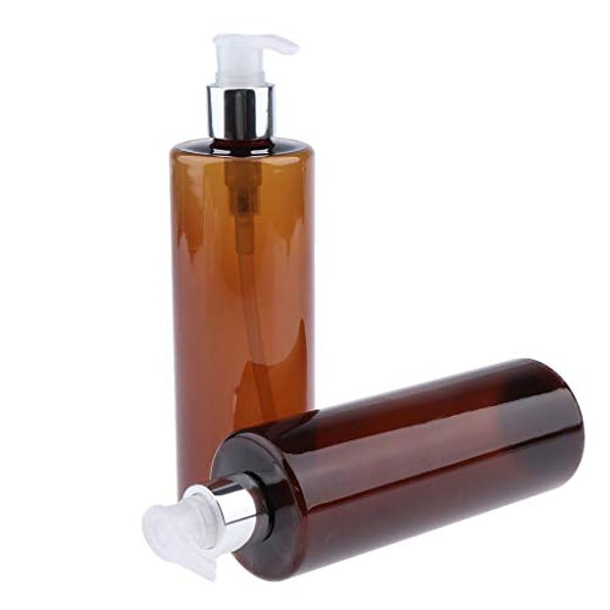 願望古くなったスイングポンプボトル シャンプーボトル コンディショナーボトル ローションボトル ハンドソープボトル 3色選べ - 褐色