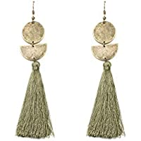 Colette Hayman - Geometric Disc Green Tassel Statement Earrings
