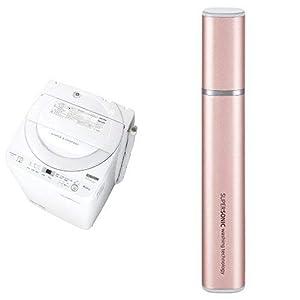 シャープ 全自動洗濯機 ステンレス穴なし槽 6kg ホワイト系 ES-GE6B-W 超音波ウォッシャー ピンク系 セット