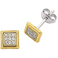Bevilles 9ct Yellow Gold Pave Stud Earrings
