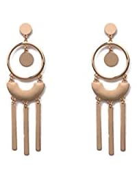 Gold Tone Brush And Shiny Drop Statement Earrings