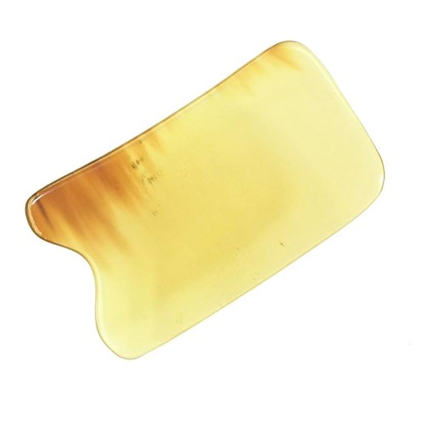 敵有料自体かっさ プレート 厚さが選べる 水牛の角(黄水牛角) EHE219 四角凹 一般品 少し薄め (4ミリ程度)