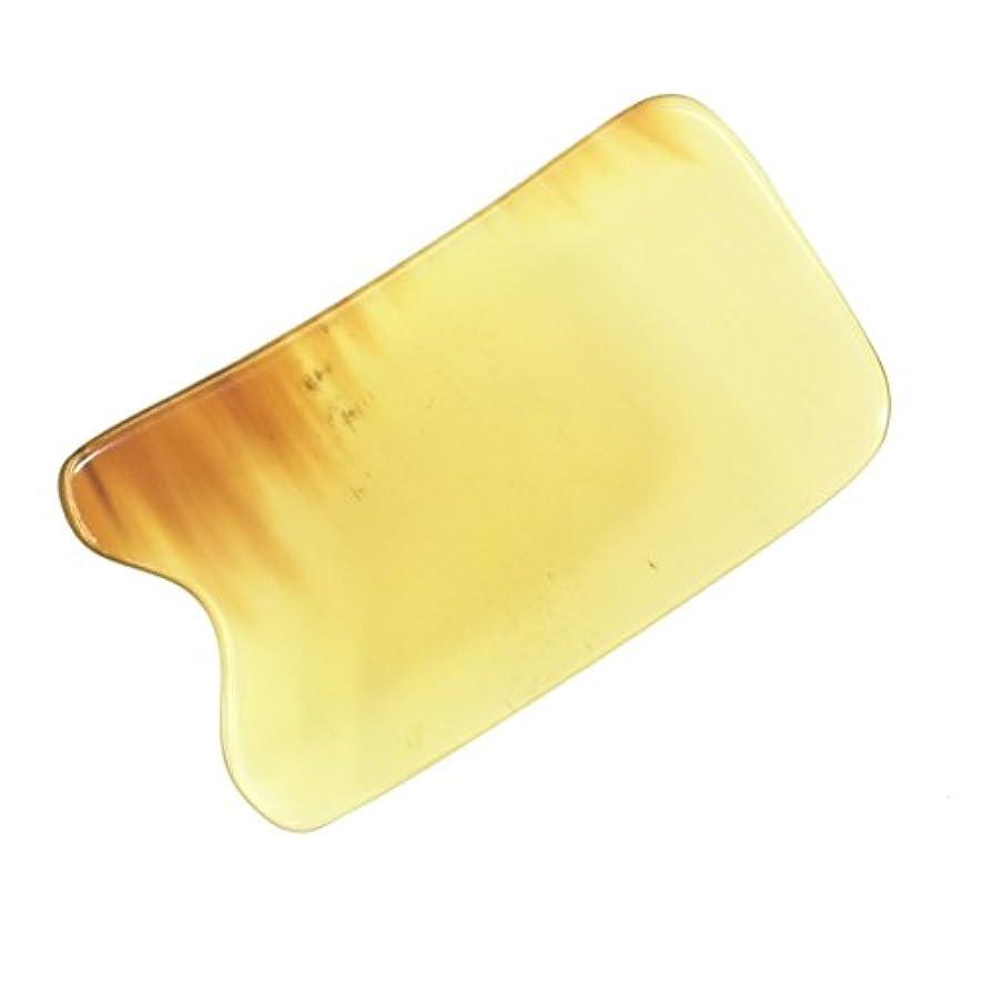 鋭くキャラバン主観的かっさ プレート 厚さが選べる 水牛の角(黄水牛角) EHE219 四角凹 一般品 少し薄め (4ミリ程度)