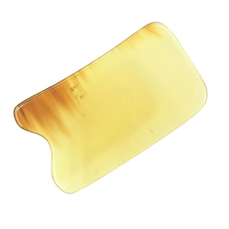 ベリおじいちゃん小売かっさ プレート 厚さが選べる 水牛の角(黄水牛角) EHE219 四角凹 一般品 少し薄め (4ミリ程度)