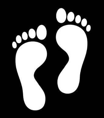 人 人間 足 足跡 足型 フット フットプリント フットマーク Foot feet footprints シルエット ステッカー シール デカール (25cm×10cm, ホワイト)