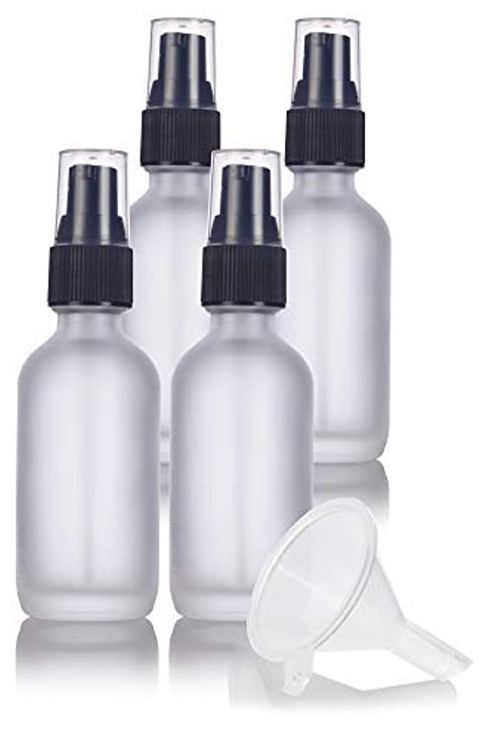 怒るスライム中国2 oz Frosted Clear Glass Boston Round Treatment Pump Bottle (4 pack) + Funnel and Labels for cosmetics, serums...