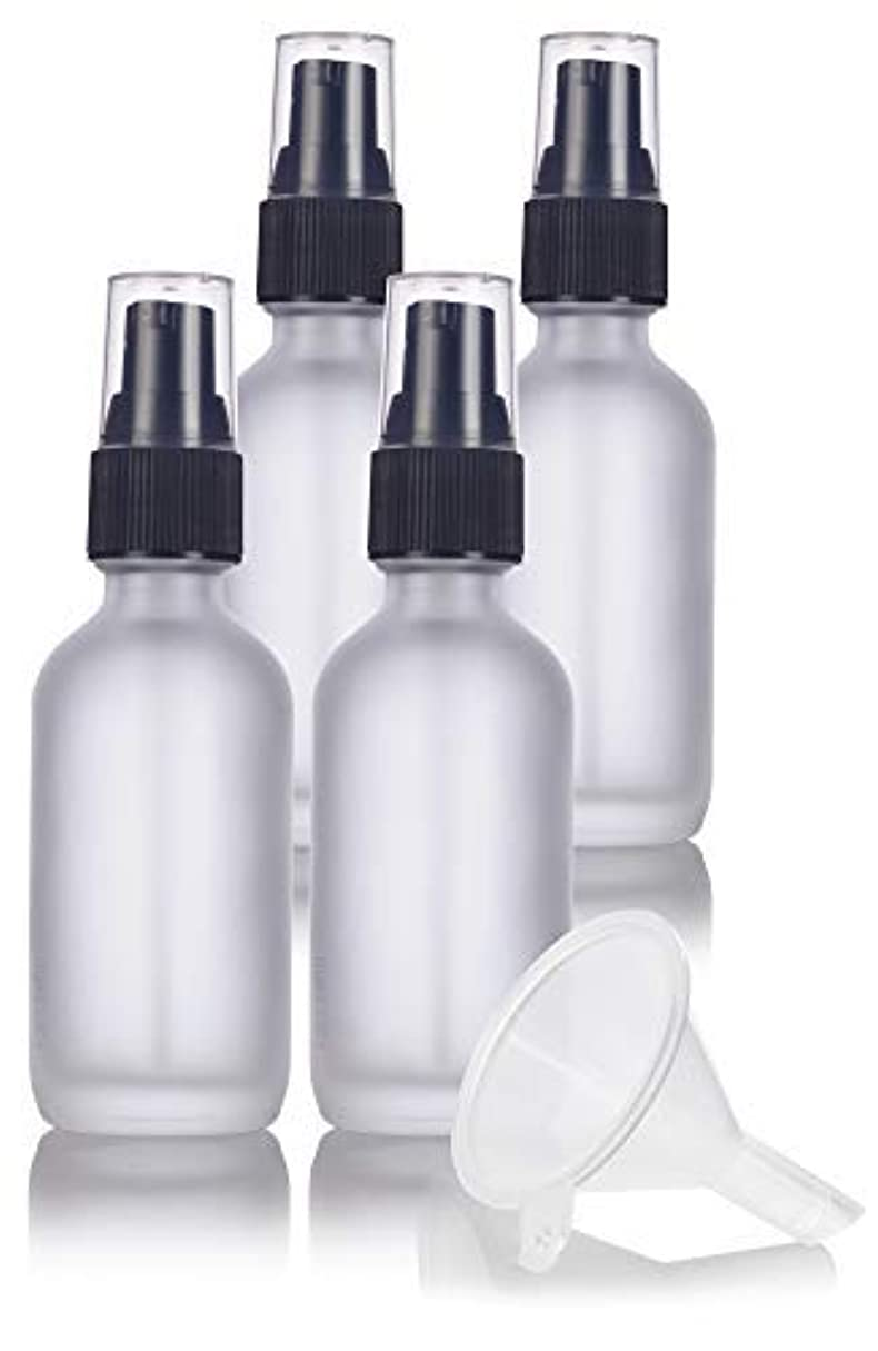 逃すタワー気分が悪い2 oz Frosted Clear Glass Boston Round Treatment Pump Bottle (4 pack) + Funnel and Labels for cosmetics, serums...