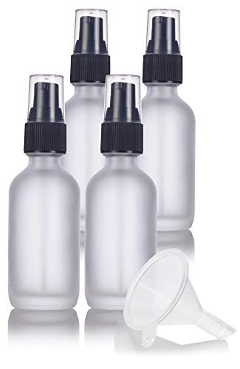 コーチ特許苦悩2 oz Frosted Clear Glass Boston Round Treatment Pump Bottle (4 pack) + Funnel and Labels for cosmetics, serums...