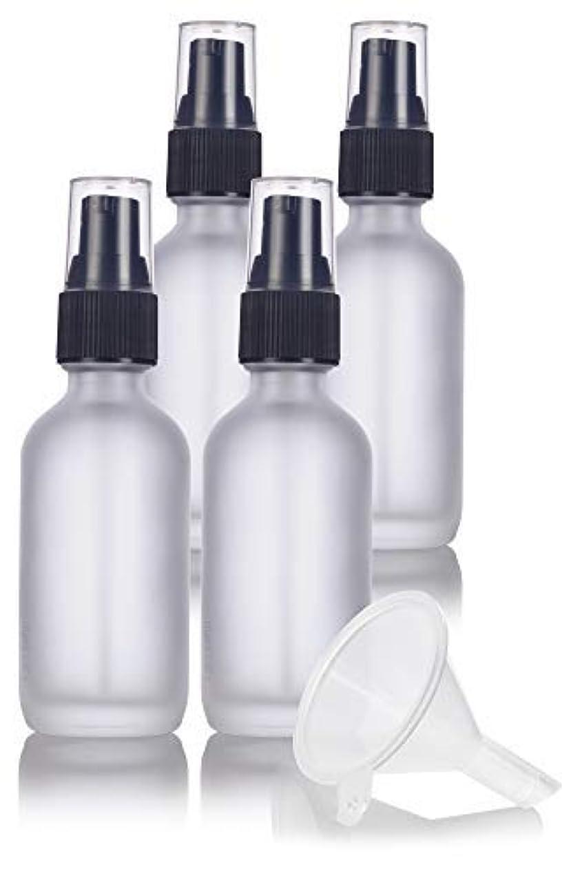 分離掃く水分2 oz Frosted Clear Glass Boston Round Treatment Pump Bottle (4 pack) + Funnel and Labels for cosmetics, serums...