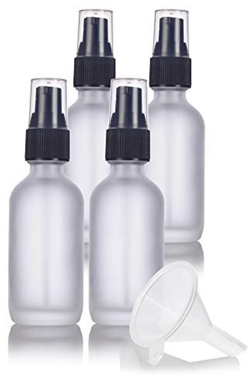 序文増幅ファッション2 oz Frosted Clear Glass Boston Round Treatment Pump Bottle (4 pack) + Funnel and Labels for cosmetics, serums...