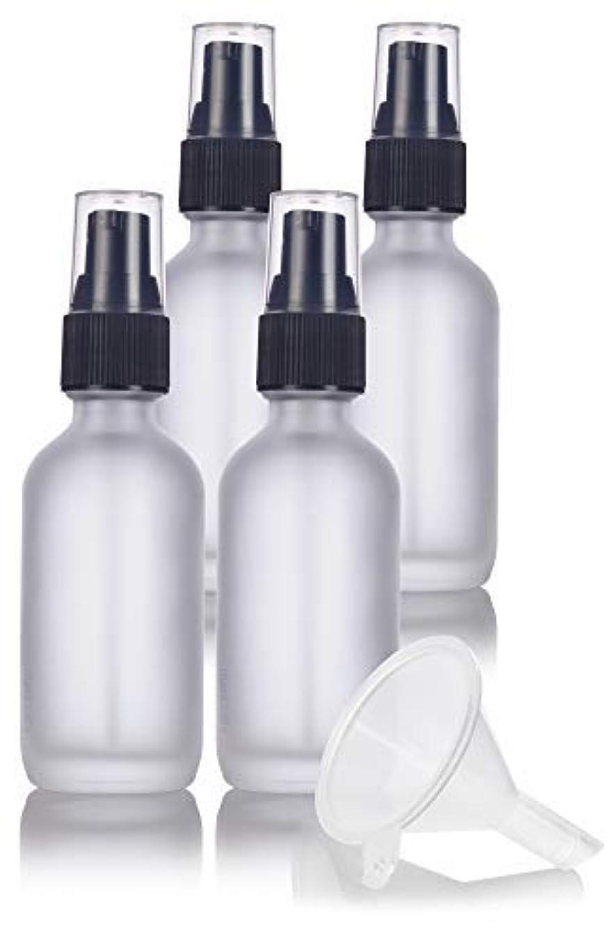 ほのか支援する裂け目2 oz Frosted Clear Glass Boston Round Treatment Pump Bottle (4 pack) + Funnel and Labels for cosmetics, serums, essential oils, aromatherapy, food grade, bpa free [並行輸入品]