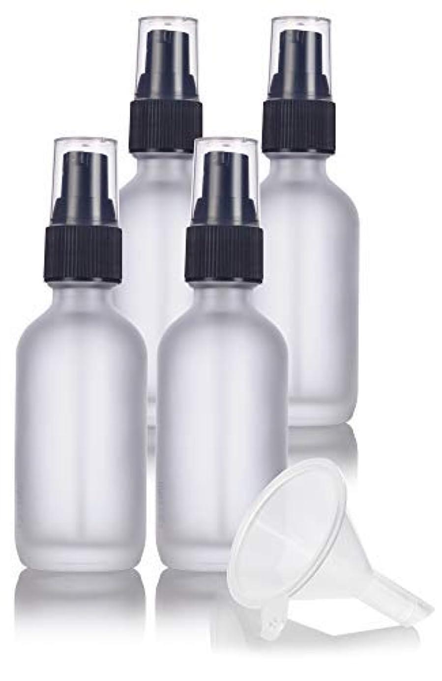救援トレイル応用2 oz Frosted Clear Glass Boston Round Treatment Pump Bottle (4 pack) + Funnel and Labels for cosmetics, serums...