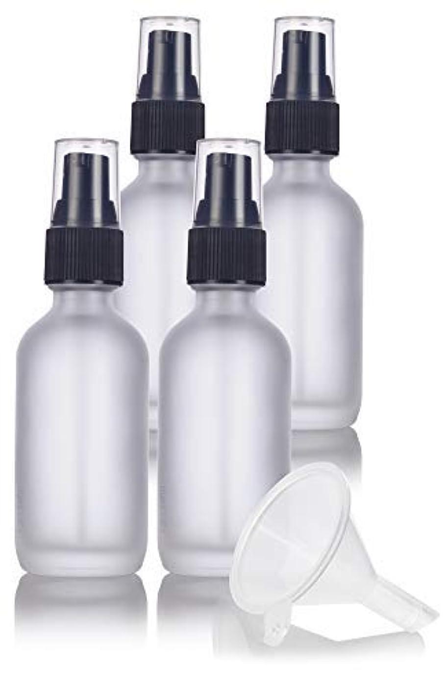 別の抑圧者ヒギンズ2 oz Frosted Clear Glass Boston Round Treatment Pump Bottle (4 pack) + Funnel and Labels for cosmetics, serums...