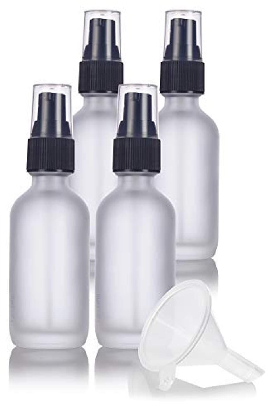 粘性のエンディング長方形2 oz Frosted Clear Glass Boston Round Treatment Pump Bottle (4 pack) + Funnel and Labels for cosmetics, serums...