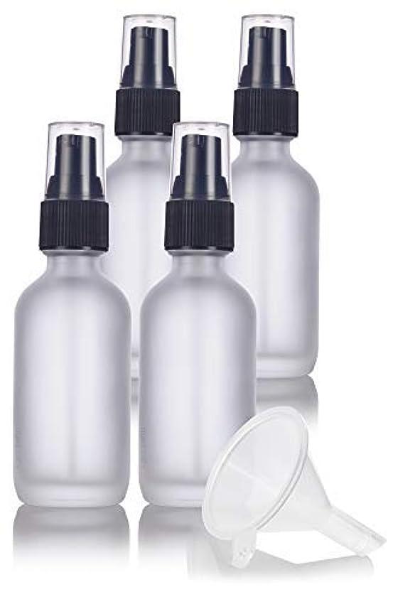 能力分散廊下2 oz Frosted Clear Glass Boston Round Treatment Pump Bottle (4 pack) + Funnel and Labels for cosmetics, serums...
