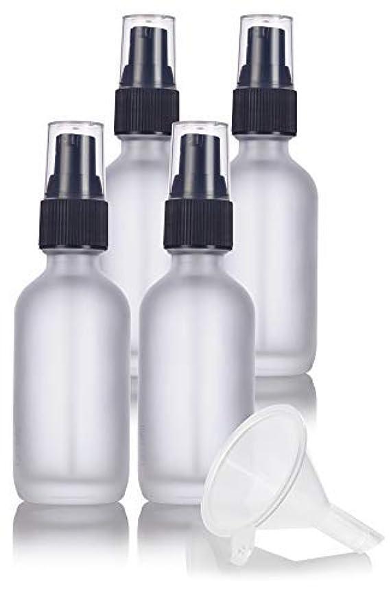 合理的多年生政策2 oz Frosted Clear Glass Boston Round Treatment Pump Bottle (4 pack) + Funnel and Labels for cosmetics, serums...