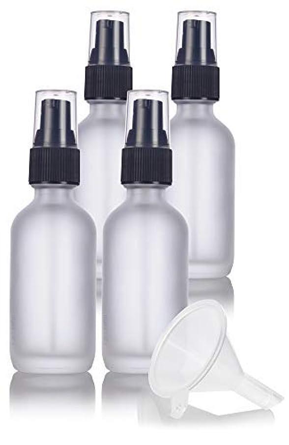 悪性ツイン心理学2 oz Frosted Clear Glass Boston Round Treatment Pump Bottle (4 pack) + Funnel and Labels for cosmetics, serums...