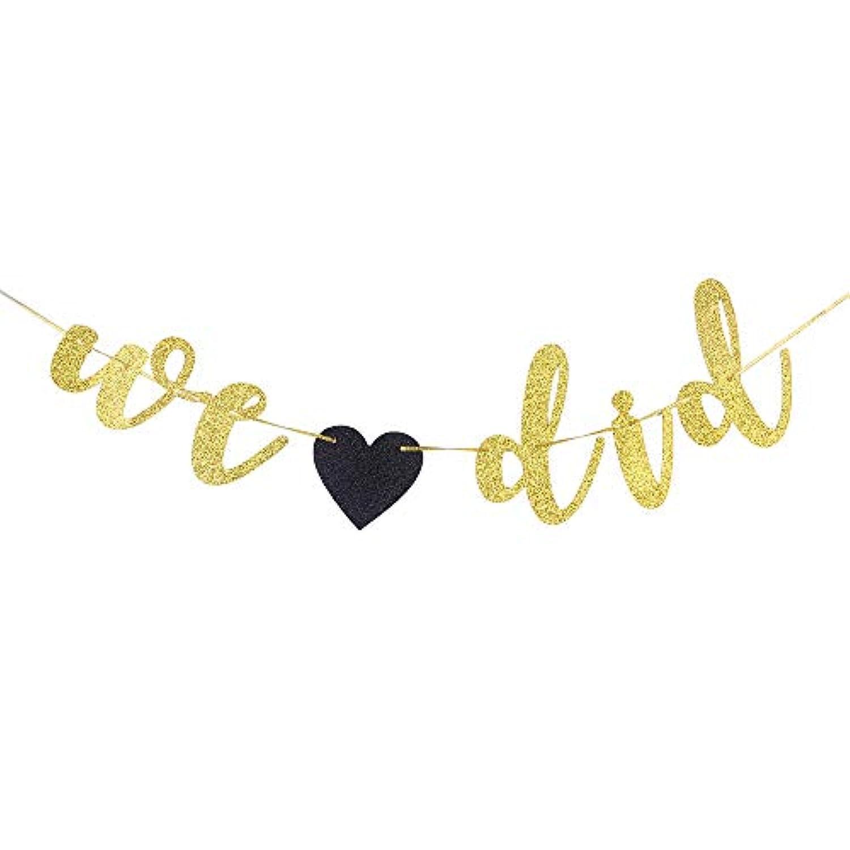 WE DID バナー ブライダルシャワー用 婚約 結婚記念日パーティーデコレーション (ゴールドグリッター)