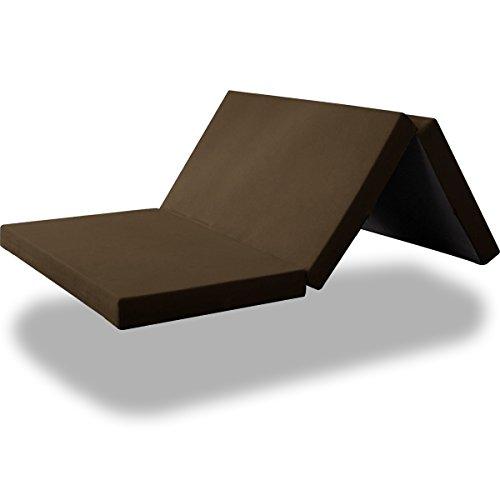 ottostyle.jp 高反発マットレス 三つ折り 10cm セミダブル ブラウン 硬さ150ニュートン/やや硬め (高密度ウレタンフォーム使用)
