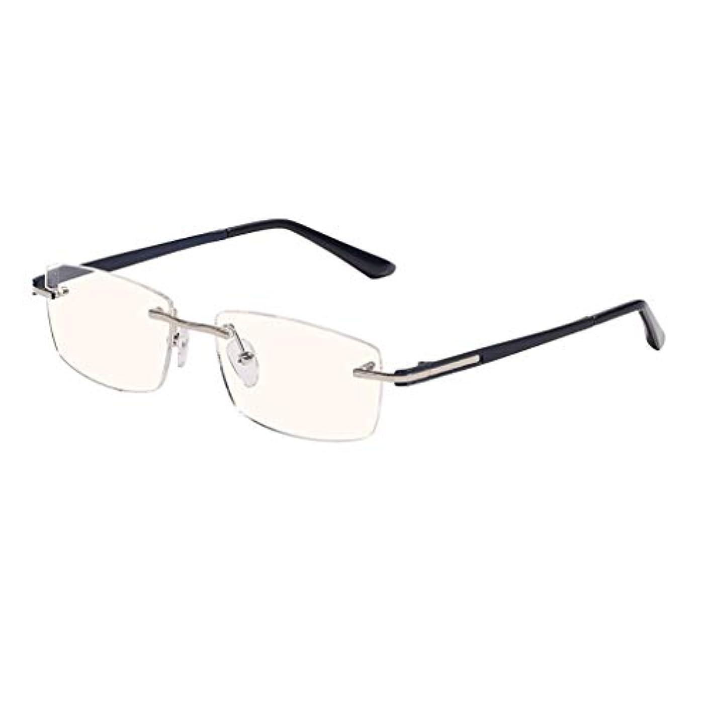 縁なし老眼鏡+1.0から+3.0  スーパーライトチタンアイウェア メンズレディースサンリーダーリーディンググラスHDアンチブルーライトブラックブルー