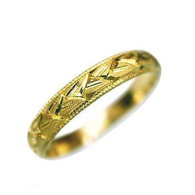 指輪 大きいサイズ 鍛造(たんぞう) K18甲丸麦穂彫リング巾3mm5g ゴールドリング 彫金 ペア マリッジ オリジナル(31号)