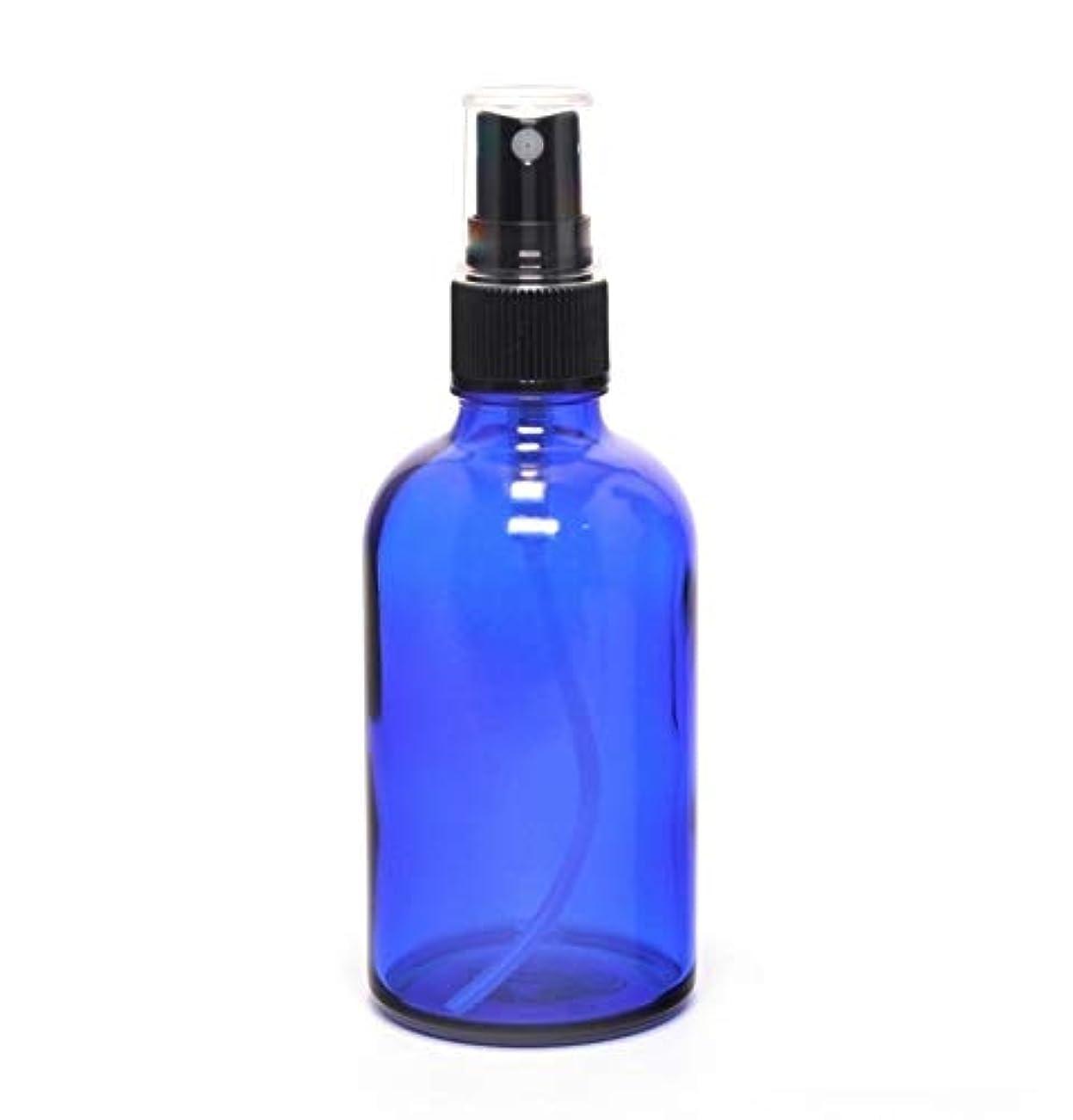 儀式喜んで適応遮光瓶 蓄圧式で細かいミストのスプレーボトル 100ml コバルトブルー / 1本 ( 硝子製?アトマイザー )ブラックヘッド