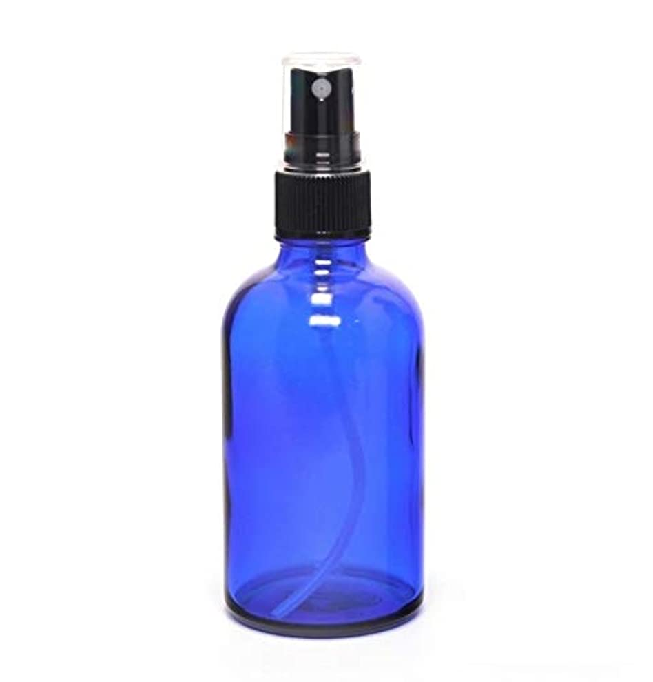 助けになるピストル成熟した遮光瓶 蓄圧式で細かいミストのスプレーボトル 100ml コバルトブルー / 1本 ( 硝子製?アトマイザー )ブラックヘッド