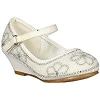 Alrisco Girl Glitter Pearl Embellishment Mary Jane Wedge Heel RC26