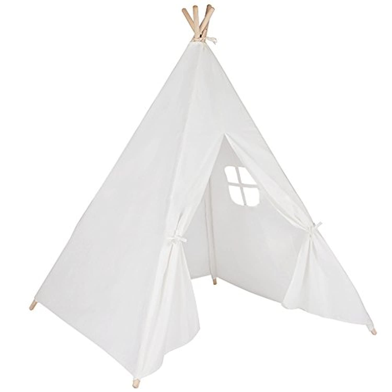 テント子供用 屋内テント 折り畳み式 キッズテント 秘密基地 知育玩具 子供遊ぶハウス 子供部屋装飾 簡単組み立て (ホワイト)