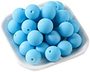 Mamimami Home Round Ball, Silicone Beads, Sky, 0.6 inch (15 mm), 50 Pieces, Silicone Beads, Gift, Diy, Materia