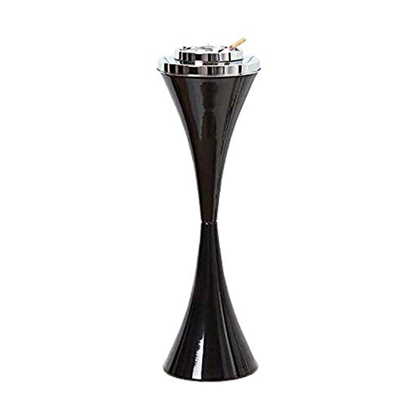 チェス参照写真を描くふたステンレス鋼現代屋内または屋外のためのセルフクリーニング喫煙灰皿クリエイティブスマートシガー取り外し可能な灰皿23.5ハイパティオ防風アッシュホルダー付きフロア立ちアッシュトレイ (色 : 黒)