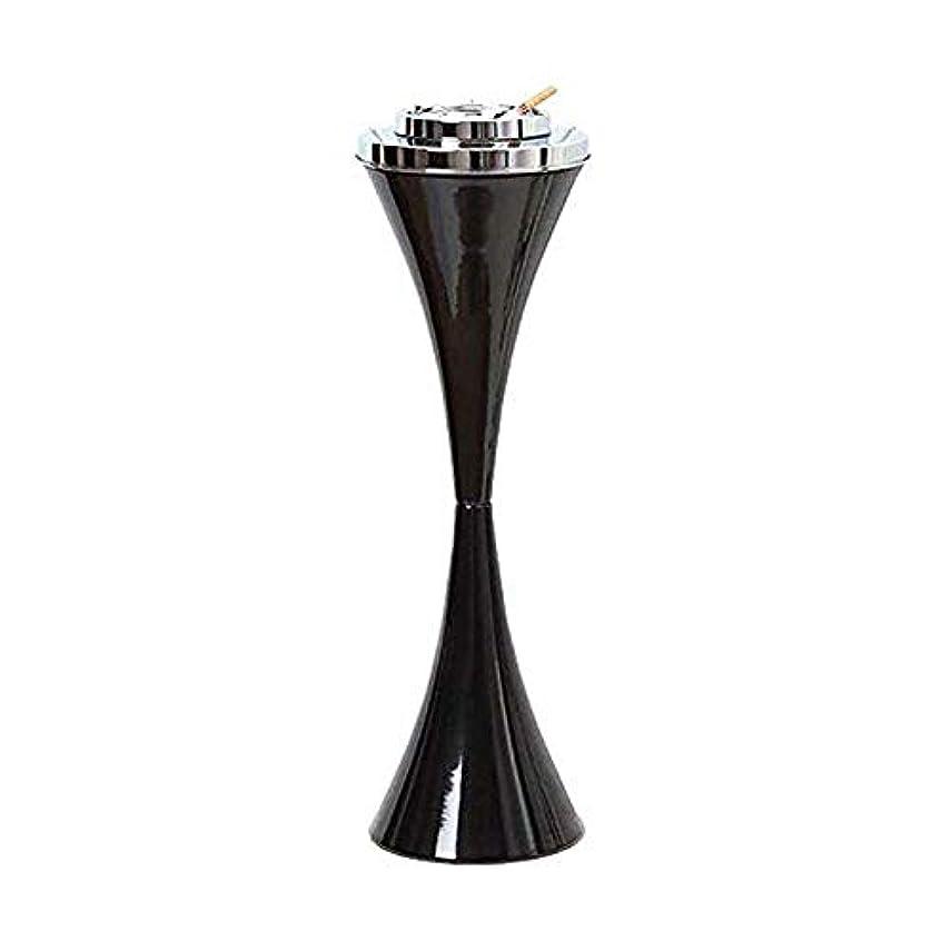 窒息させる甘い祈るふたステンレス鋼現代屋内または屋外のためのセルフクリーニング喫煙灰皿クリエイティブスマートシガー取り外し可能な灰皿23.5ハイパティオ防風アッシュホルダー付きフロア立ちアッシュトレイ (色 : 黒)