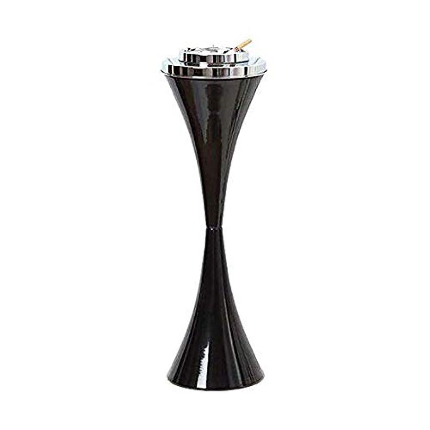 おじいちゃん独創的厳密にふたステンレス鋼現代屋内または屋外のためのセルフクリーニング喫煙灰皿クリエイティブスマートシガー取り外し可能な灰皿23.5ハイパティオ防風アッシュホルダー付きフロア立ちアッシュトレイ (色 : 黒)