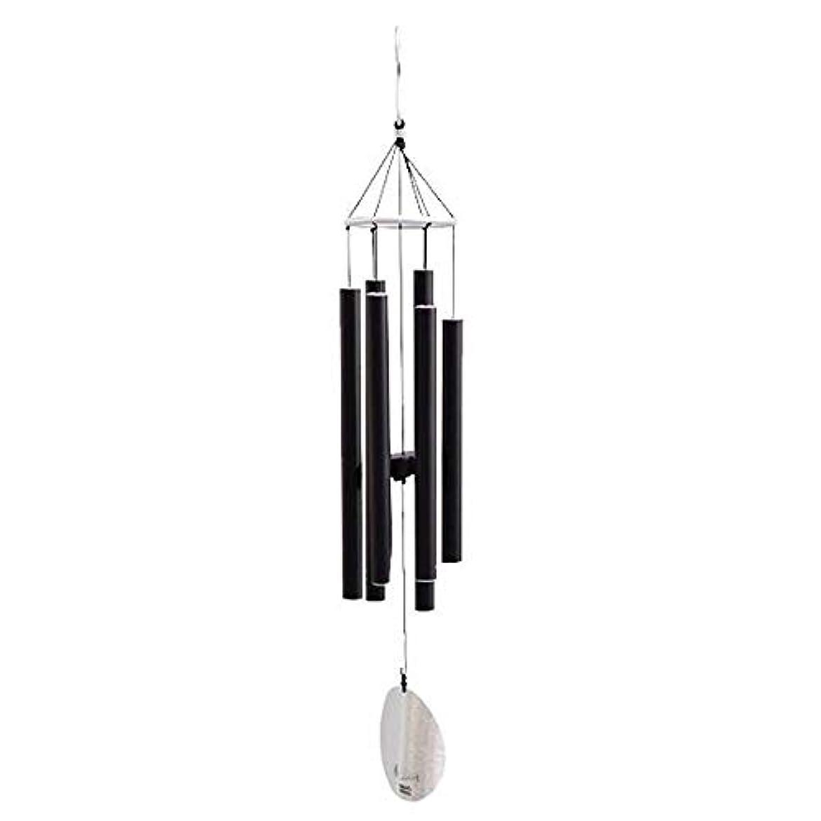 ピカリング見積り人柄Qiyuezhuangshi 風チャイム、メタル肥厚6チューブ風の鐘、ブラック、全身について77CM,美しいホリデーギフト (Color : Black)