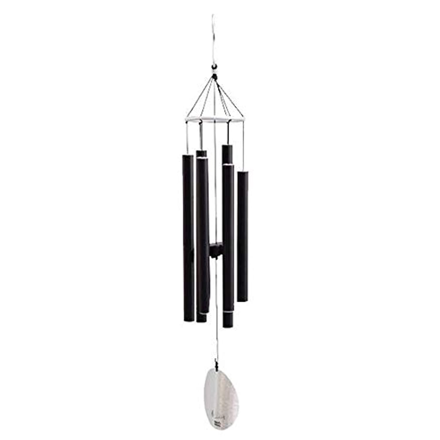 怒りそれによって時々時々Qiyuezhuangshi 風チャイム、メタル肥厚6チューブ風の鐘、ブラック、全身について77CM,美しいホリデーギフト (Color : Black)